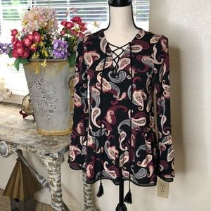 WHBM long sleeve lace up top